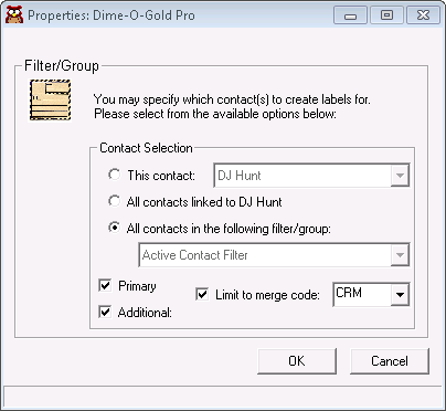 Screen capture of filter/group and Additional Contact selection user interface